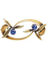 Faberge Faberge Russian Sapphire Floral Brooch Pin Original Box 56 Hallmark Gold, 1900 - Blue