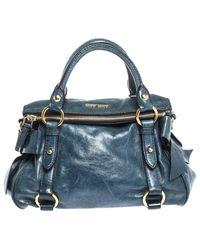 Miu Miu Leather Bow Satchel - Blue