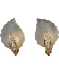 Dior Vintage Frosted Glass Leaf Earrings - Metallic