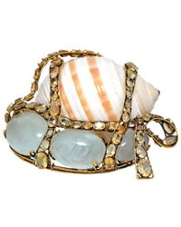 Iradj Moini Large Shell Brooch Set In Brass With Colored Gemstones - Multicolor