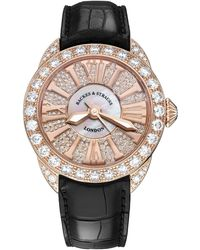 Backes & Strauss Piccadilly 37 Luxury Diamond Watch For Women, Rose Gold - Red