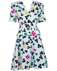 Oscar de la Renta /elizabeth Arden Multicolor Floral Circle Skirt Suit - M, 1980s - Blue