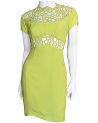 Thierry Mugler Lace Inset Silk Dress - Green