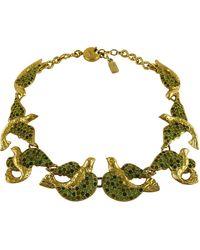 Saint Laurent Ysl Vintage Jeweled Bird Necklace - Multicolor