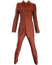 Jean Paul Gaultier Early 1990s Vintage Rust Burnt Tailored Cigarette Suit - Orange