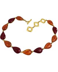 Saint Laurent - Vintage Amber Ruby Cabochon Necklace - Lyst