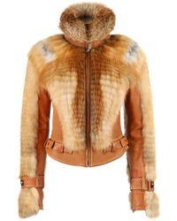 Roberto Cavalli Just Cavalli A/w 2007 Tan Leather Genuine Fox Fur Moto Jacket - Brown