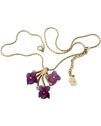 Dior Vintage Frosted Glass Flower Necklace - Purple