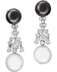 Sabbadini Jewelry Pearl And Diamond Long Earring - Multicolor