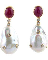 Meghna Jewels 18 Karat Gold Ruby Pearl Diamond Earrings - Metallic