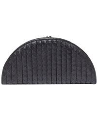 Bottega Veneta Intreciatto Leather Fan Clutch - Black