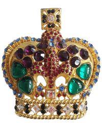 Versace Elegant Crown Brooch By With Stones, 1980s - Multicolor
