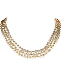 Tasaki Akoya Pearl Necklace Three Strand By - Metallic