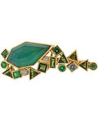 Stephen Webster Gold Struck Diamond Emerald Agate Two Finger Ring - Green