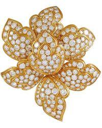 Van Cleef & Arpels 1970s Diamond Flower Brooch - Metallic