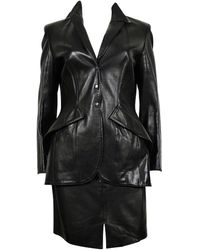 Thierry Mugler Couture Vintage Lambskin Leather Skirt Suit - Black