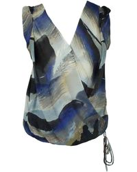 Robert Rodriguez Printed Silk Chiffon Sleeveless Top - 4 - Blue