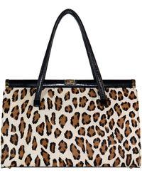 Saks Fifth Avenue Saks Fifth Ave Leopard Motif Stenciled Pony-hair Handbag Straps Circa 1960s - Natural