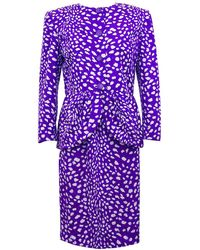 Valentino 1980s Purple And Leopard Print Skirt Suit - White