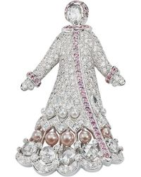 Faberge Lara Irkutsk 18k Gold Diamond Brooch With Sapphires & Pearls - White