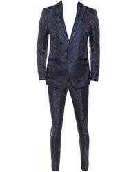 Dolce & Gabbana Midnight Jacquard Suit M - Blue