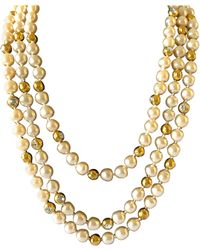 Chanel Coco Vintage Triple Strand Pearl Diamante Statement Necklace - Multicolor