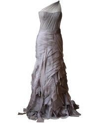 Vera Wang One Shoulder Tiered Silk Organza Gown - Gray