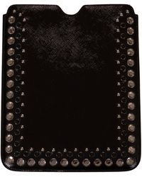 Prada Bejeweled Leather Ipad Cover Case - Black