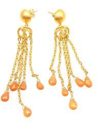 Yossi Harari Citrine Gemstone Gold Drop Earrings - Yellow