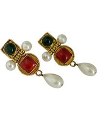 Chanel Vintage Gripoix Poured Glass And Faux Pearl Dangle Earrings - Multicolor
