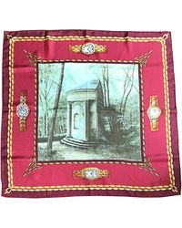 Patek Philippe New 1990s Novelty Watch Print 34 X 34 Vintage Silk Scarf With Box - Pink