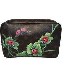 Louis Vuitton Vintage Customized Hand Painted Ladybug Trousse Cosmetic Pouch - Black