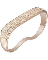 AS29 18 Karat Rose Gold Lana Flat Diamond 2-fingers Ring - Red