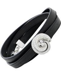 De Grisogono Chiocciolina 18 Karat Gold And Diamond Leather Cord Wrap - Black