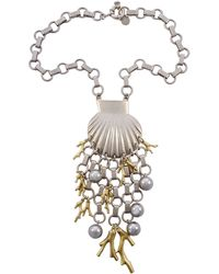 Marc By Marc Jacobs Silver And Gold Plated Seashell Underwater Design Neckace - Metallic