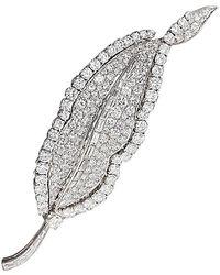 BVLGARI Bulgari 1960s Diamond And Platinum Leaf Brooch - Metallic