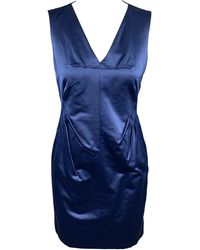 Robert Rodriguez Size 2 Cotton / Polyester V-neck Sheath Cocktail Dress - Blue