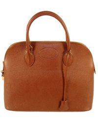 Hermès 1997 Hermes Cafe Leather Bolide 35cm Zip Top Handle Bag W. Lock & Keys - Brown