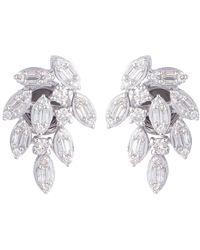 Meghna Jewels Diamond 18 Karat Gold Leaves Stud Earrings - White