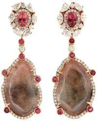 Meghna Jewels Geode Tourmaline One Of A Kind Diamond Earrings - Multicolor