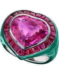 Sabbadini Heart Shaped Sapphire Ring - Pink