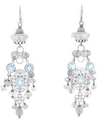 Elizabeth Showers Topaz Silver Dangle Earrings - Blue