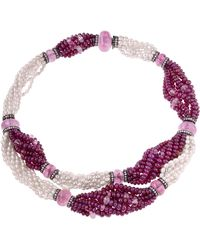 Sabbadini Pearl And Rubies Beaded Chocker Necklace - Multicolor