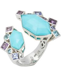 Stephen Webster 18 Karat Gold Crystal Haze Gold Struck Turquoise Open Ring - White