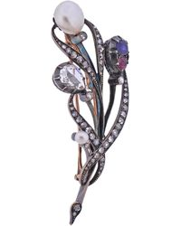 Faberge Faberge Rose Cut Diamond Sapphire Ruby Pearl Gold And Silver Brooch - Red