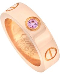 Cartier Love 18k Rose Gold Pink Sapphire Ring - Red