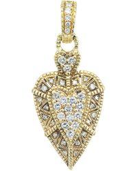 Judith Ripka .50 Carat Diamond Gold Heart Pendant Enhancer - Yellow