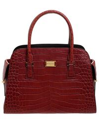 Michael Kors Croc Embossed Leather Gia Satchel - Red