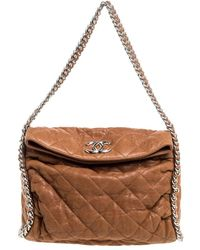 Chanel Tan Leather Chain Around Hobo - Brown