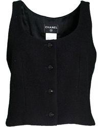 Chanel Wool Boucle Vest Sz Fr42 - Black